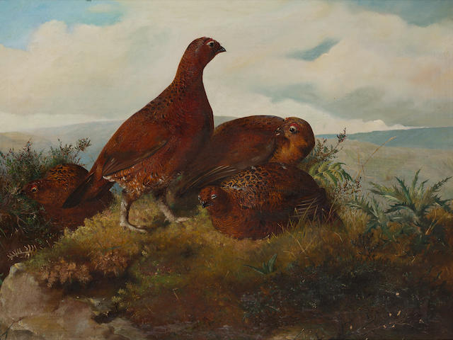 John Christopher Bell (British, active 1846-1869) A Covey of Grouse
