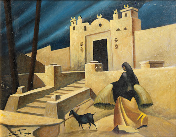 Hussein Bicar (Egypt, 1913-2002) Nubian Woman and Goat