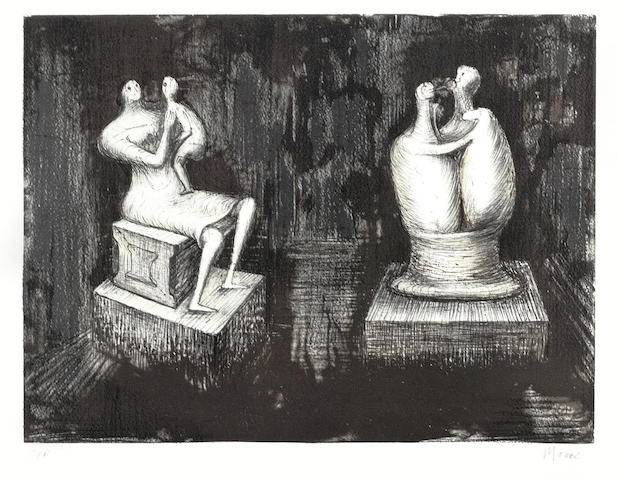 Henry Moore O.M., C.H. (British, 1898-1986) Sculptures Dark Interior Lithograph, 1973, on wove, signed and inscribed 'AP' in pencil, a proof aside from the edition of 75, the full sheet, 254 x 340mm (10 x 13 3/4in)(I) unframed