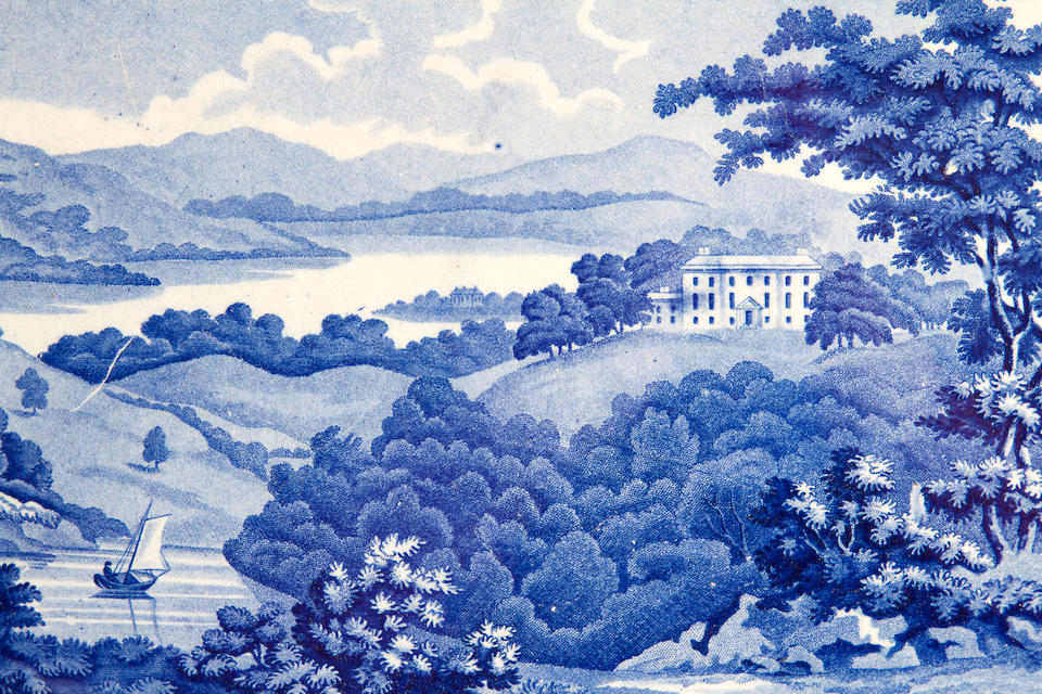 A group of blue and white printed earthenware from the British Views series, early 19th century