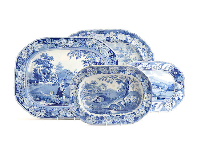 Four various blue and white printed earthenware platters, circa 1820-30
