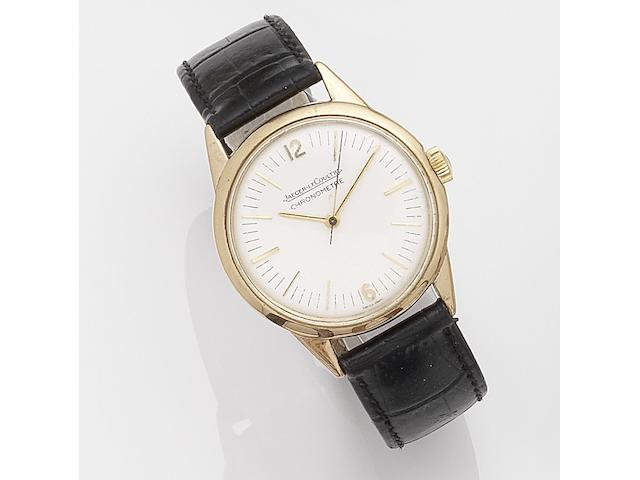 Jaeger-LeCoultre. A rare 9k gold manual wind wristwatch Chronometre Geophysic, Case No.155, Movement No.1331071, London Hallmark for 1959
