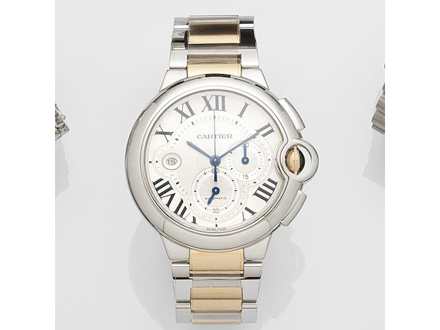 Cartier. A stainless steel and gold automatic calendar chronograph bracelet watch Ballon Bleu, Ref:3109, Case No.243914RX, Sold July 2012