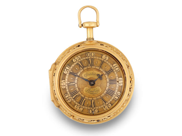 George Graham. An exceptional and rare gold key wind quarter repeating repoussé pair case pocket watch Movement No.568, London Hallmark for 1727