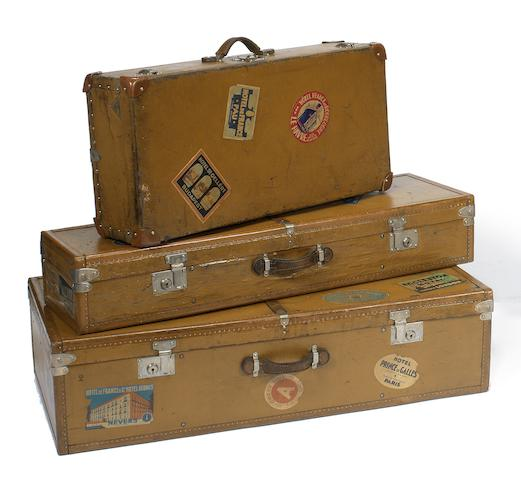 Two motoring trunks and a suitcase, by Moynat, circa 1925,   ((3))