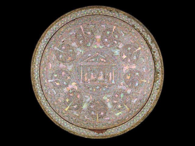 A rare and fine Mother-of-Pearl and black lac overlaid wood Tray Gujarat, late 16th/ early 17th Century