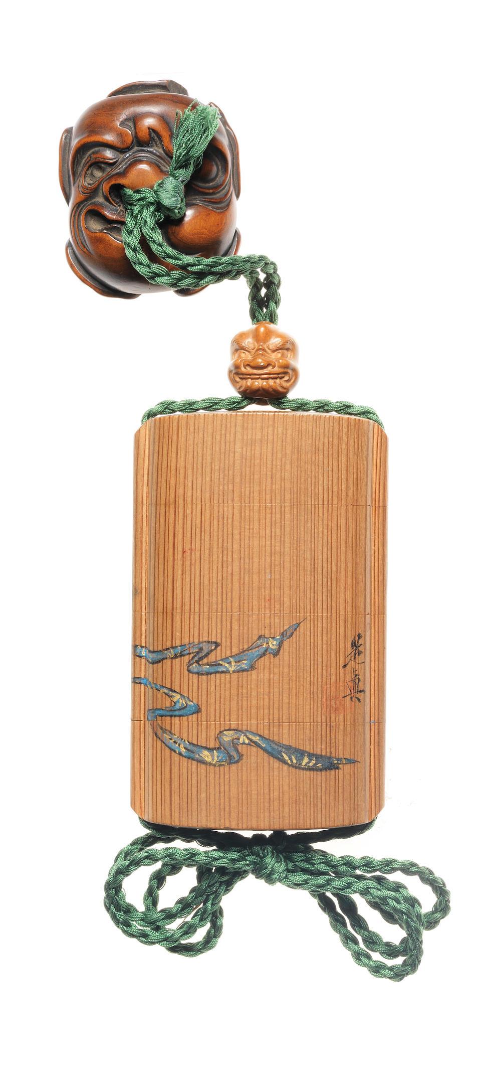 Shibata Zeshin 柴田是真 (1807–1891)  INRŌ WITH THE ONI-YARAI RITE  鬼遣図木地蒔絵印籠 Meiji era (1868–1912), circa 1870–1890