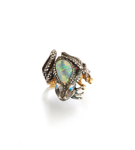 An opal frog ring, 'Remember Your Promise', by Kevin Coates,