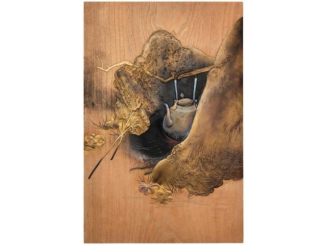 Shibata Zeshin 柴田是真 (1807–1891)  DOOR WITH AUTUMN MAPLE-VIEWING SCENE  紅葉狩図蒔絵板戸 Meiji era (1868–1912), late 1880s