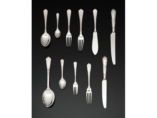 A silver La Regence pattern table service of flatware and cutlery by R Carrs Sheffield 2000, with millennium mark (142)