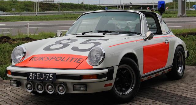 One of a mere 5 believed delivered new to the Rijkspolitie in 1974,1974 Porsche 911 2.7-Litre Targa 'ALEX 12.85' Rijkspolitie  Chassis no. 9115110341 Engine no. 6359081