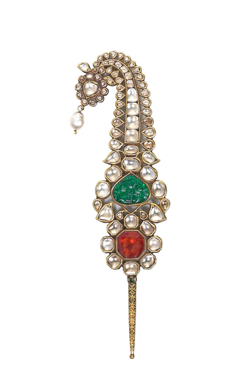 A fine gem-set enamelled gold Turban Ornament (Jigha) North India, 18th Century