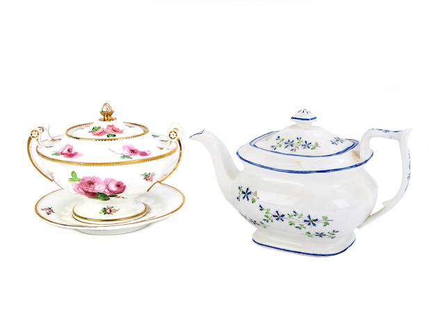 A Nantgarw sauce tureen, a cover and stand, and a Nantgarw teapot and cover, circa 1818-20