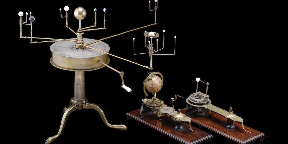 A rare Matthew Berge brass combined planetarium, lunarium and tellarium,  English, circa 1800,