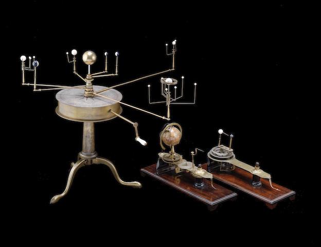 A rare Matthew Berge brass combined planetarium, lunarium and tellarium,  English, circa 1800,