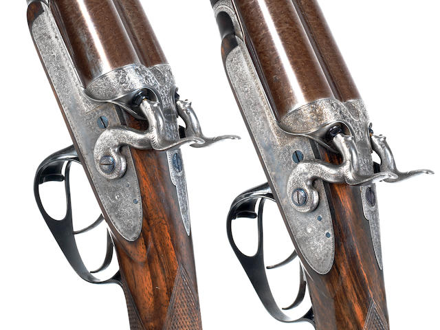 A fine and rare pair of 12-bore bar-in-wood sidelock hammer guns by J. Purdey, no. 7799/7800 In a Purdey leather case