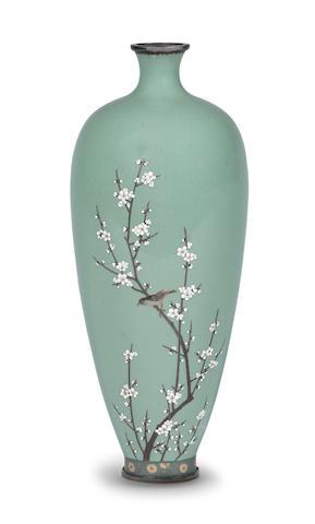 A cloisonné-enamel slender ovoid vase By Kinunken of Kyoto, Meiji era (1868-1912)