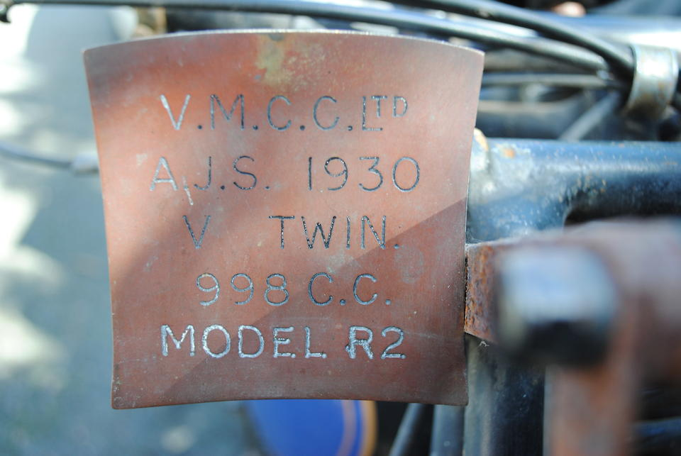1930 AJS 998cc Model R2 Motorcycle Combination Frame no. 50941 Engine no. 50941