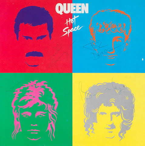 Queen: An autographed copy of the album 'Hot Space',