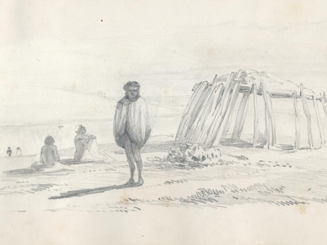 MURRAY-DARLING RIVER EXPEDITION, 1850 HUTTON (FRANCIS FREDERICK) Sketch book recording an expedition along the Murray-Darling river basin in 1850,  including landscape scenes, encampments and Aborigines, [1850]