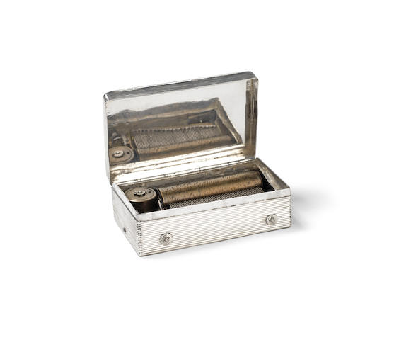 A silver cased cylinder music box,  movement Swiss, case Low Countries,  early 19th century,