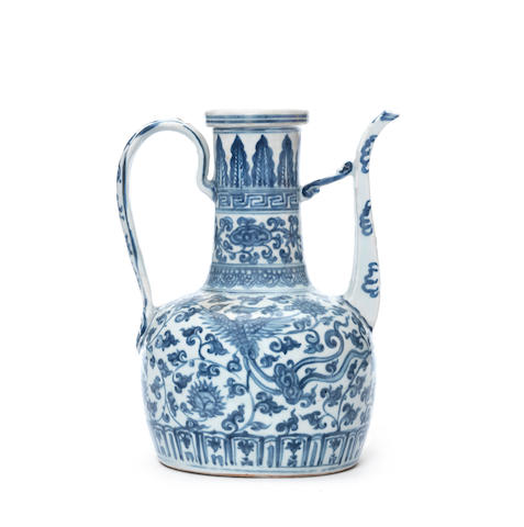 A large blue and white ewer Circa 1500