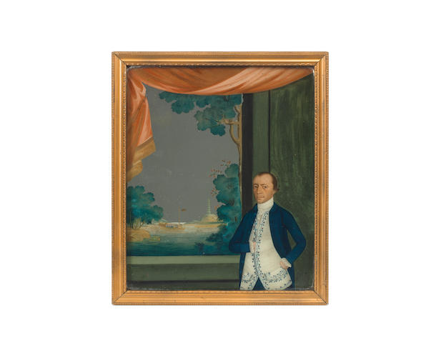 A late 18th century Chinese-Export reverse painted mirror of Captain John Cranstoun