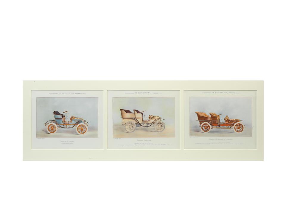 A set of six coloured De Dion Bouton prints,   ((2))