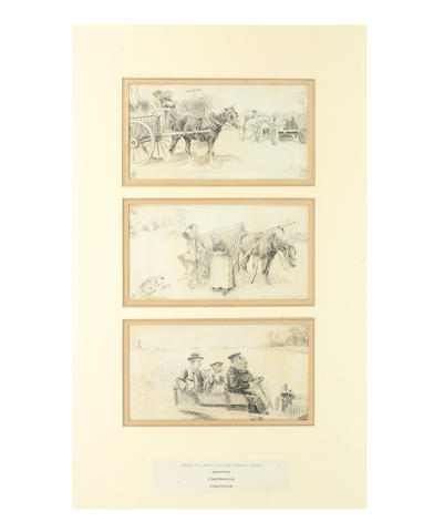 P J Henley, 'Jubilation', 'Consternation' and 'Consolation', a series of three early motoring illustrations,
