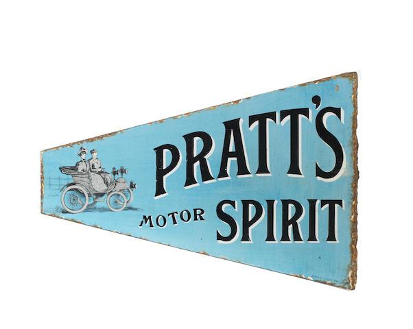 A RARE PRATT'S MOTOR SPIRIT ENAMEL SIGN,