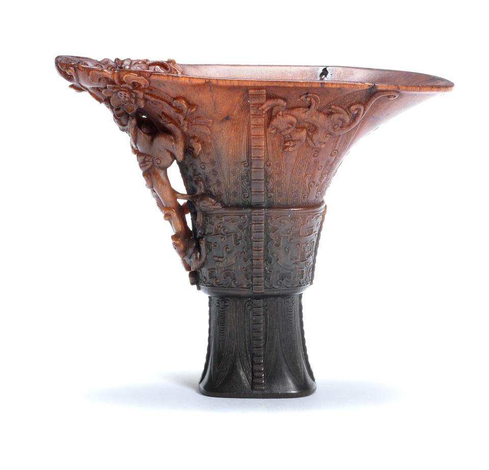 A rare archaistic rhinoceros horn libation cup 18th century
