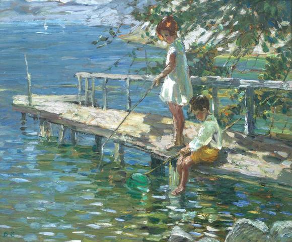 Dorothea Sharp, RBA, ROI (British, 1874-1955) Fishing off the jetty