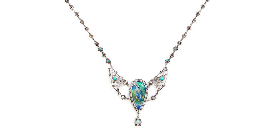 An Arts and Crafts silver and enamel pendant necklace by Arthur and Georgina Gaskin