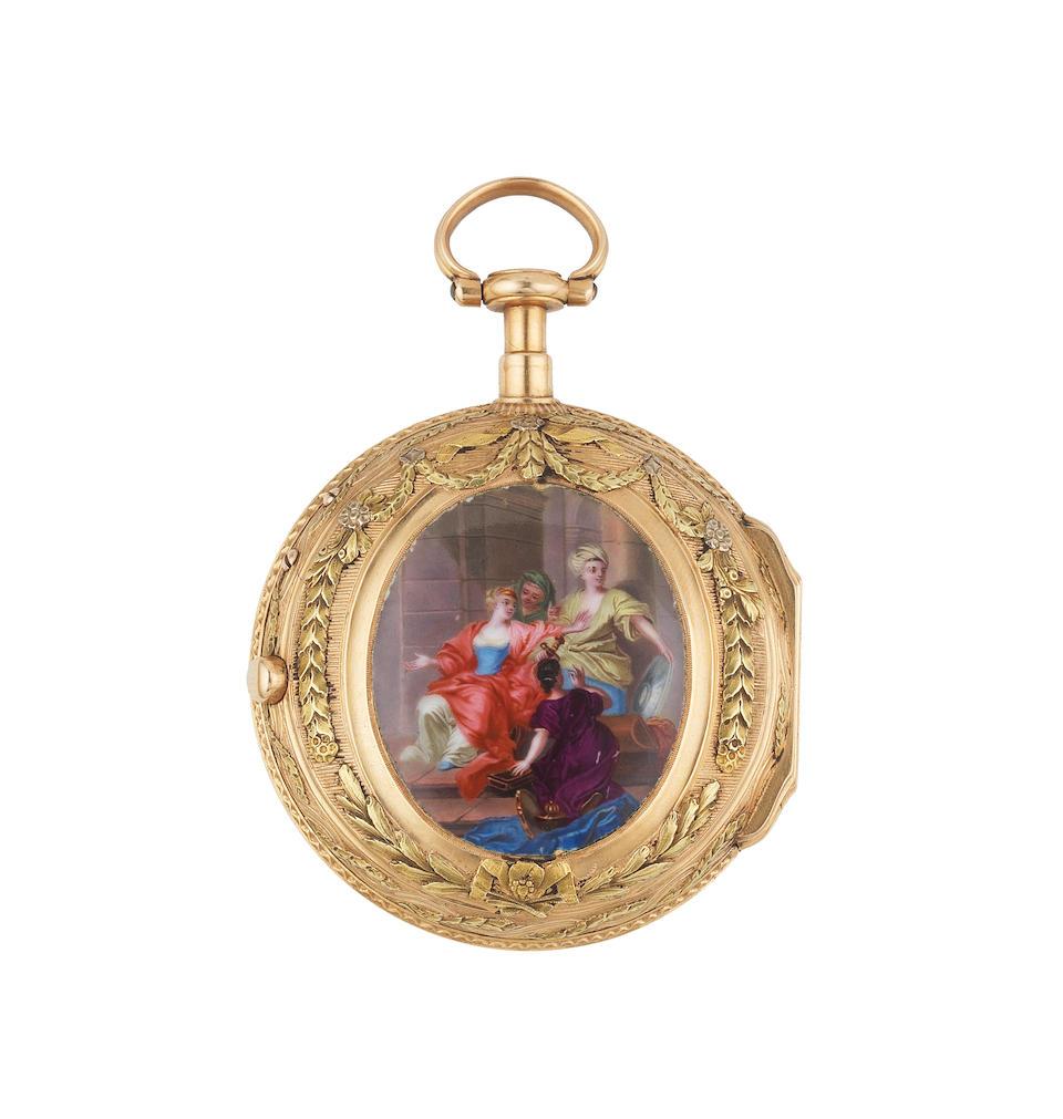 Dufalga, Geneve. An 18th century continental gold key wind pocket watch Circa 1780
