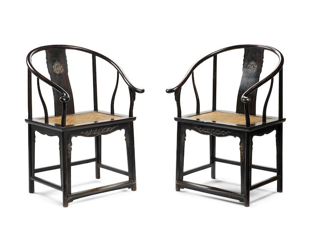 A rare pair of zitan horseshoe-back armchairs, quanyi 19th century (2)