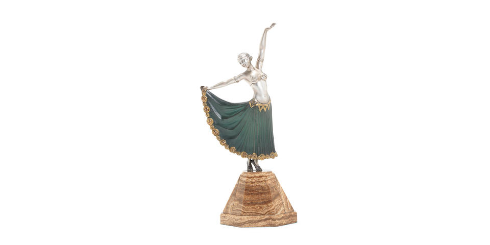 A.Godard 'Syrian Dancer' a Silvered and Cold-Painted Art Deco Bronze Figure, circa 1925
