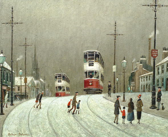 Arthur Delaney (British, 1927-1987) Trams in the snow