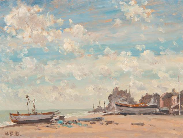 Hugh Boycott Brown (British, 1909-1990) Bright morning, Aldeburgh; Boats moored on the beach (2)