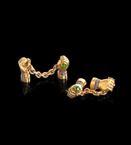 A pair of jewelled gold cufflinksBolin, workmaster Konstantin Linke, St. Petersburg, 1890s