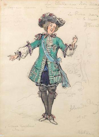 Aleksander Nikolaevich Benois (Russian/French, 1870-1960) Costume design for Prince Désiré from The Sleeping Beauty