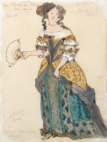 Aleksander Nikolaevich Benois (Russian/French, 1870-1960) Costume design for Dames a la Cour from The Sleeping Beauty