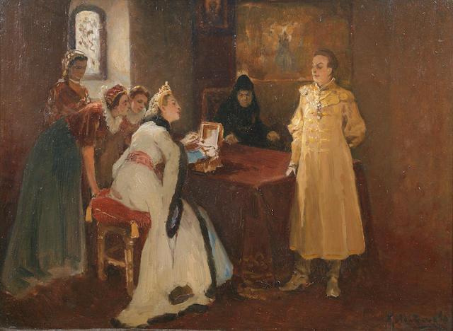 Klavdiy Vasilievich Lebedev (Russian, 1852-1916) Xenia Godunova and False Dmitrii