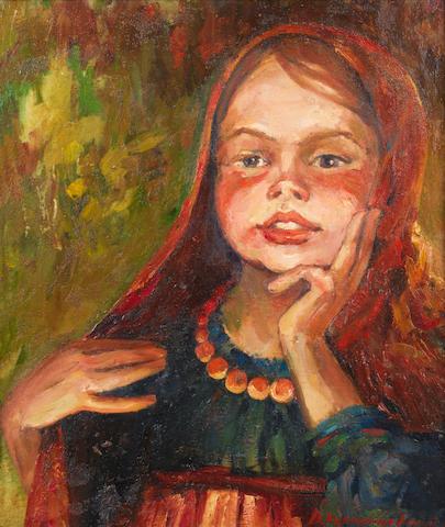 Vasiliy Panfilovich Kurmanaevski (Russian, 1894-1960) Portrait of a girl