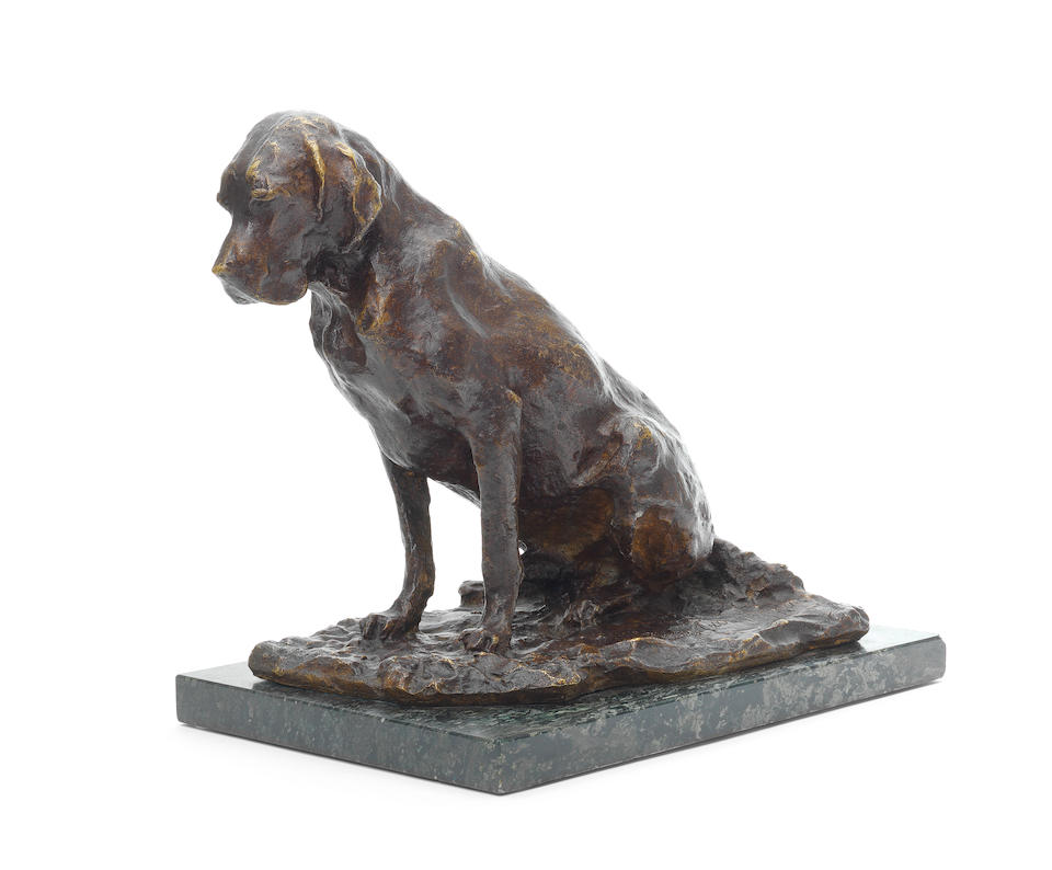 A bronze model of a dog cast from the model by  Pavel Petrovich Troubetzkoy (Russian, 1866-1938)
