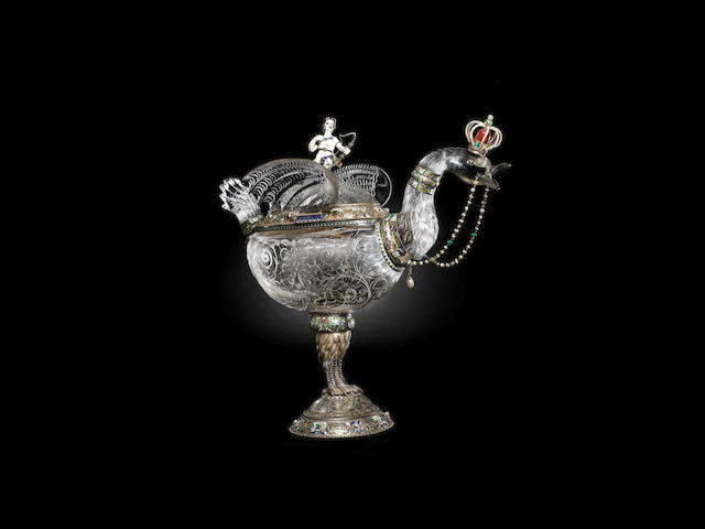 An impressive and large 19th century Austrian rock crystal, pearl, gem-set and enamelled silver-gilt mounted mythical bird by Herman Boehm, Vienna circa 1872-4