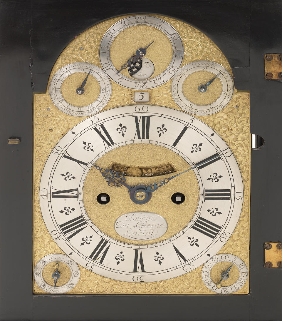 An early 18th century ebonised table clock with calendar, moonphase and pull quarter repeat for the French market Claudius Du Chesne, Londini