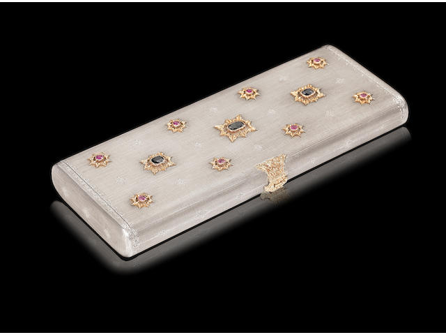 BUCCELLATI: An Italian unmarked gold, silver and gem set minaudière clasp engraved M BUCCELLATI