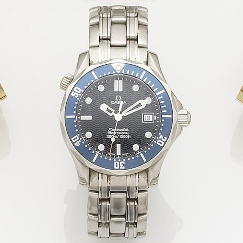 Omega. A stainless steel quartz calendar bracelet watch Seamaster, Ref:195.1522/25618000, Case No.56853922, Sold 25th June 2000