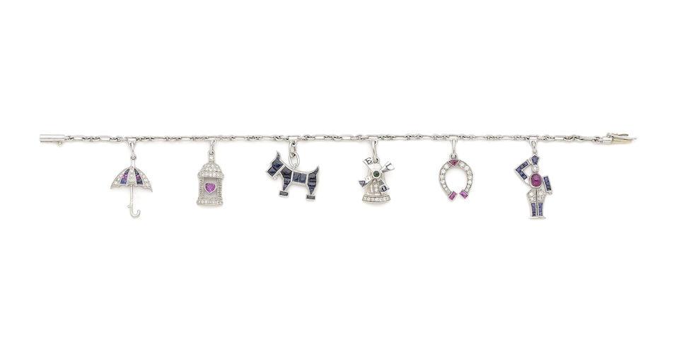 A gem-set charm bracelet,