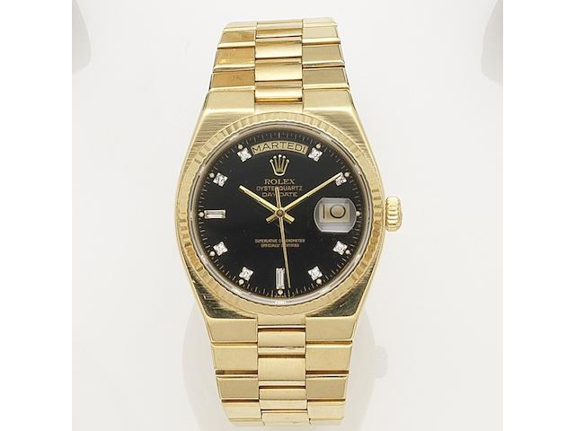 Rolex. An 18K gold quartz calendar bracelet watch Oysterquartz Day-Date, Ref:19018, Serial No.743****, Circa 1982